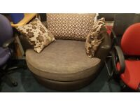 Oversized 2 persons Swivel Leather Sofa Fully Rotational