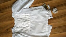 HIGHLAND DANCE DANCING WHITE BLOUSE TOP SHIRT size 35 36 chest COMPETITION OUTFIT can post