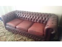 STUNNING GENUINE ORIGINAL VINTAGE CHESTERFIELD SUITE 3 SEATER CLUB CHAIR QUEEN ANNE CHAIR
