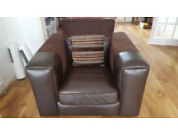 Brown Chocolate Faux Leather Armchair £25 L4