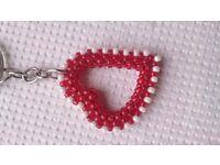 Red White Heart Keychain, Beaded Heart