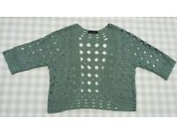 Ladies bolero by COAST, soft green crochet-style short sleeves, size 12, excellent condition.