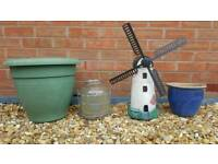 Planter blue ceramic garden