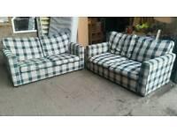 Tartan Fabric Sofa Bed Suite