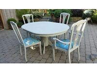Shabby Chic solid wood dining table & 4 chairs