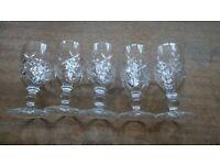 Set of 5 Vintage Sherry Glasses