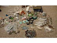 door hangers, screwdrivers, screws, traveladaptor, extension wire, 4 way plug etc