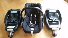 Maxi Cosy Car Seat & 2 Maxi Cosy Easy Fix Bases