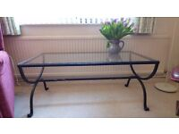 Wrought Iron glass top table - handmade