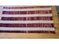 Striped purple velvet and mink linen roman blind with mechanism W700mm x D1310mm
