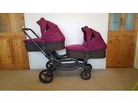 ABC Zoom Tandem / twin pushchair - inc. 2 carrycots