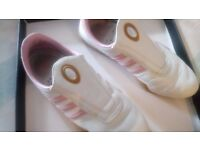 Ladies Adidas Trainers in White and pink trim