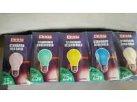 10 x COLOURED (Christmas) Light Bulbs