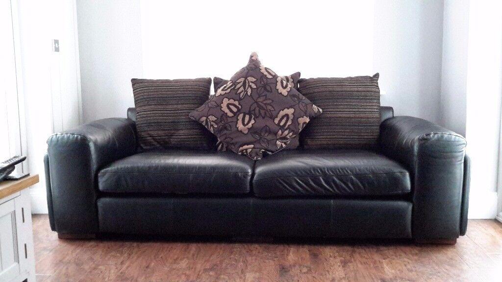 Black leather sofas 4 seater & 3 seater
