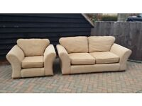 VERY GOOD QUALITY FABRIC SPRUNG TWO SEATER SOFA BED AND MATCHING ARM CHAIR IN EXCELLENT CONDITION