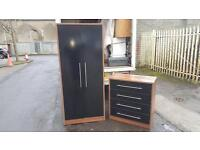 Solid walnut wood & black gloss wardrobe and chest of drawers £195 from Balmoral furniture