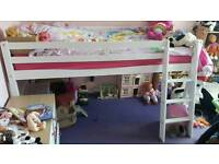 White wooden mid sleeper (mattress not included )