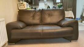 2 seater dark brown leather sofa