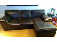 Dfs brown and tan leather chsise sofa