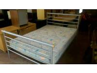 Metal double bed base with mattress