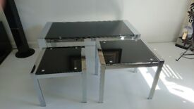 Black glass and chrome Coffee table and 2 Table Nest