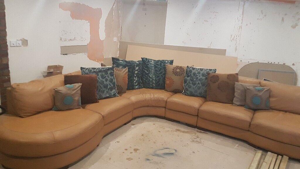 Large Dfs Tan Leather Corner Sofa