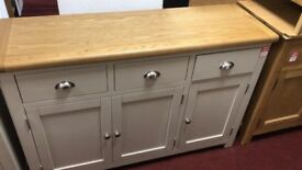 3 drawer 3 door sideboard - grey/oak