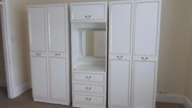 White 3 piece wardrobe and dressing table