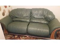 Green Leather 3 and 2 seater settee