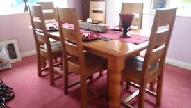 Real solid oak dining table and 4 chairs £245 offers
