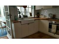 Ikea Kitchen with oven and oak worktop