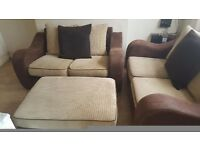 SCS SOFA SET X2 TWO SEATER SOFAS AND MATCHING FOOT POOF
