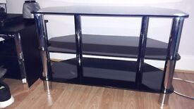 Black & silver glass tv unit