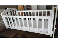 John Lewis Anna swinging baby crib, with mattress and waterproof cover/sheet.