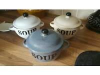 3 x soup bowls