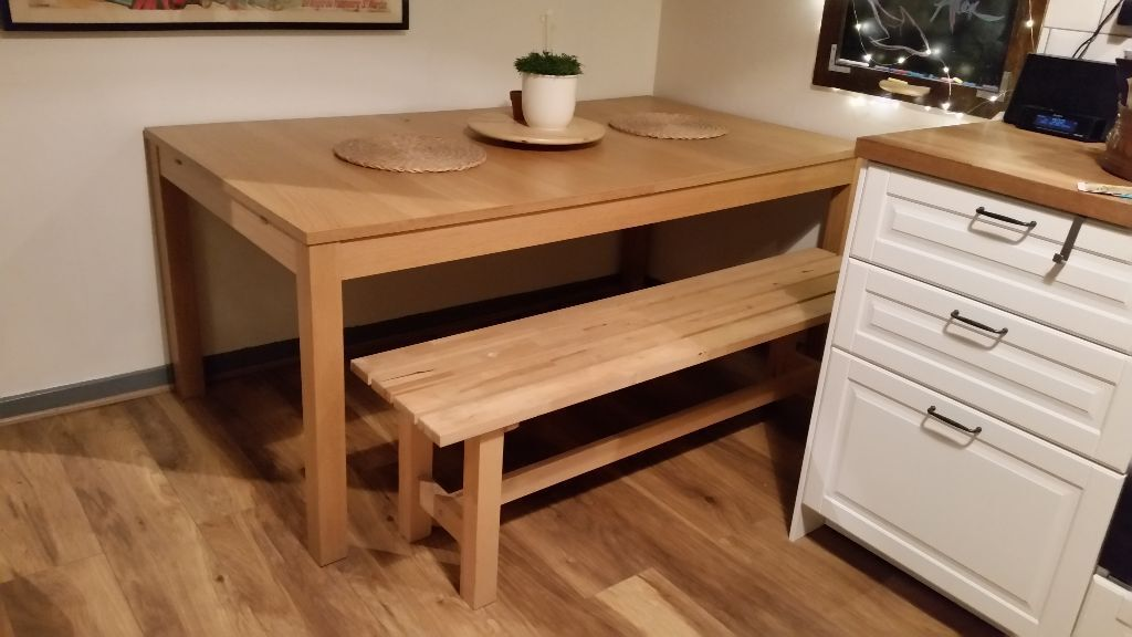 Ikea extendable Bjursta dining table and bench in London Road