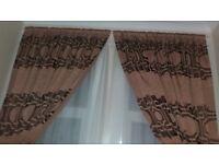 heavy embroided curtains greek key long brown gold tasseled tie backs