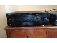 Yamaha Natural Sound Amp AX-592 Stereo Amplifier and Mordaunt Short MS812 Speakers