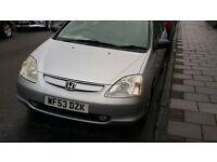2003 HONDA CIVIC S 1.6 PETROL (STARTS AND DRIVES) MOT UNTIL FEB 2018 (READY TO DRIVE AWAY) £650