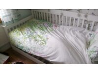 Single bed, with pullout second single guest bed, white, ideal for child or teenage, or guest room