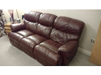 2 & 3 Seater Recliner Leather Sofas, Maroon/Red