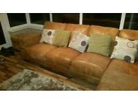 Tan Leather Chaise End Sofa