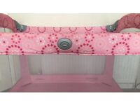 Graco pink travel cot