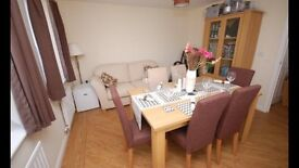 Dining table, 6 upholstered chairs & matching display cabinet