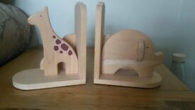 Beautiful wooden animal book ends