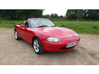 Mazda MX5. Mk 2. 1600cc. 1998. Red. 92k Miles. MOT-July 2018