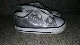 Girls Converse silver sparkly trainers