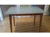Retro Vintage blue formica kitchen table 1960's wooden legs