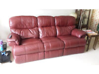 Leather 3 seater. 2 end seats recline. High back. Good all round condition.