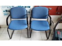 2 x Blue Reception/Meeting Room Chairs with arm rest
